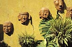 Mexico;Mexican;Latin_America;North_America;Central_America;Sierra_Madre;Clay;masks;courtyard;Concordia;Sinaloa