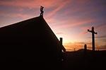 New_Zealand;South_Pacific;Oceania;Anthropology;Architecture;Art;Art_history;Maori;North_Island;Rotorua;Bay_of_Plenty;Wharenui;sacred;meeting_house;sunset
