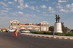Senegal;Senegalese;Africa;Africa;Architecture;Art;Art_History;French_colonial;persons;people;public_transportation;railroads;railways;trains;Dakar;Train;station;Place_de_Tirailleur;Rifleman;Square