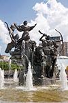 Ukraine;Ukrainian;Europe;Eastern_Europe;Europa;fountain;Independence_Square;Khoryv;Kiev;Kyi;Kyiv;Maidan_Nezalezhnosti;monument;mythical_founders;Schek;Soviet_Union;art;art_history;sculpture