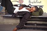 Americans;male;man;men;North_America;people;person;persons;people;USA;United_States_of_America;USA;Anchorage;Alaska;United_States;Sleeping;Native;American;bench