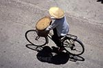 Vietnam;Vietnamese;Asia;Indochina;Southeast_Asia;female;people;person;persons;people;woman;women;Da_Nang;Woman;wearing;hat;conical_hat;bicycle